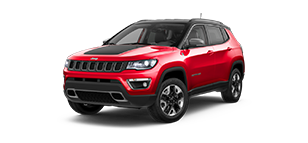 Red Jeep Compass With Black Stripe on the hood SUV