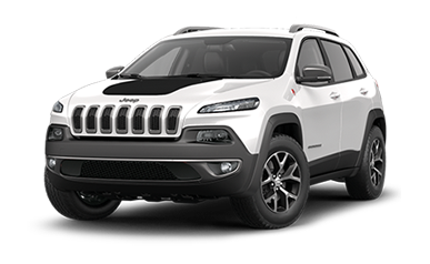 White Jeep Cherokee SUV with black hood stripe